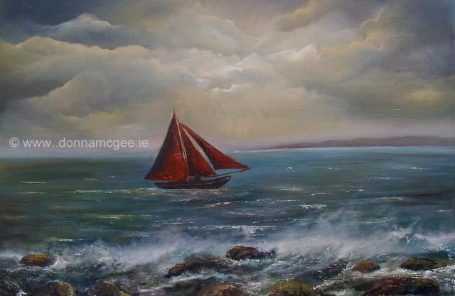 "Galway Hooker 20x30"" Oil on Canvas Donna McGee"
