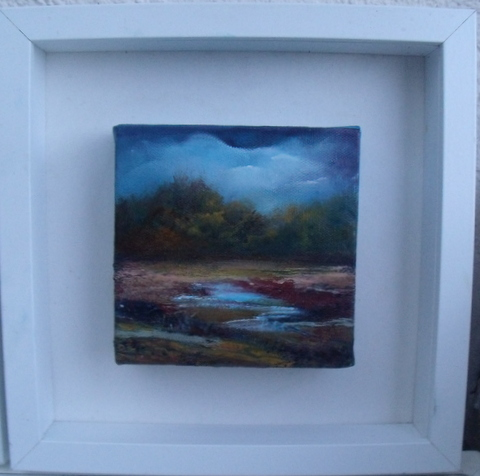 Bog Landscape Miniature, Oil on block canvas