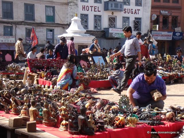 Selling their wares at Durbar Square, Nepal
