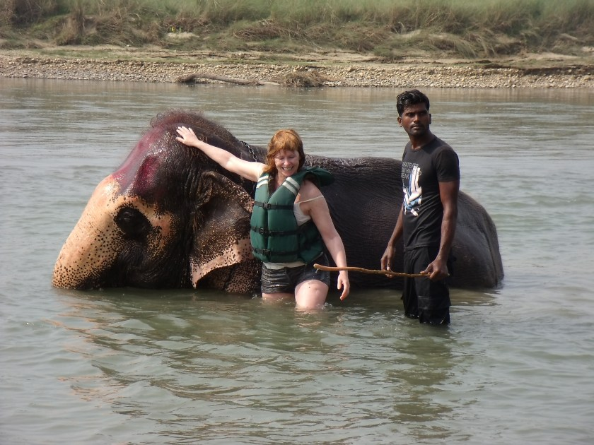 Art + Travel Adventure to Nepal - Chitwan Day 2 Bathing with the elephants