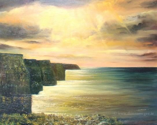 """Cliffs of Moher Seascape - Oil on board 16 x20"""""""