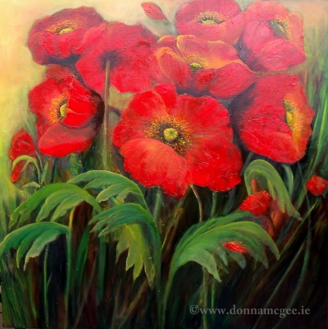 Red Poppy Field-Oil painting