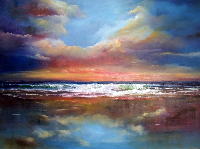 "Between Earth and Sky Seascape - Oil Painting on Canvas 20 x 30"" reflective clouds on beach by Donna McGee"