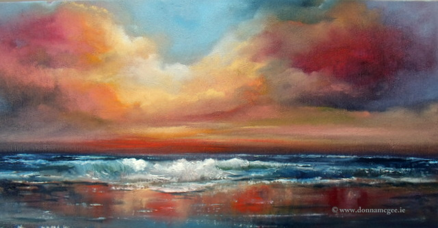 """Orchestral-Skies Seascape 10 x 20"""" Oil on Board"""