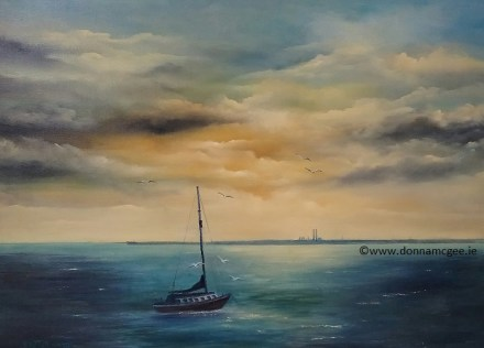 Restful Eve in Dun Laoghaire - Oil on Canvas 50 x 70 cms