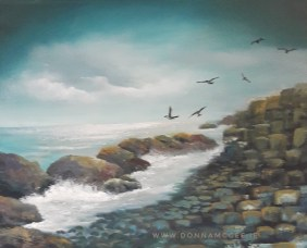 "The Giants Causeway - Oil on Board 10x12"" Donna McGee"
