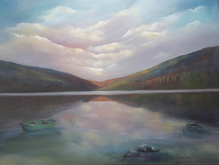 Upper Lake Glendalough - 40 x 30 inches - Oil on block canvas