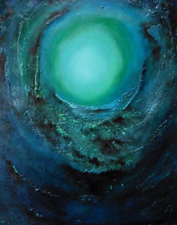 Vortex Beneath the Surface 20 x 16 inches - Oil based mixed media on block canvas abstract painting
