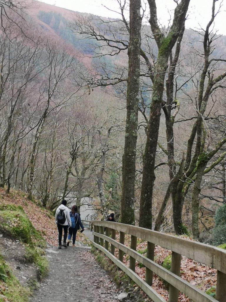 Descending down the steep hill in Glendalough