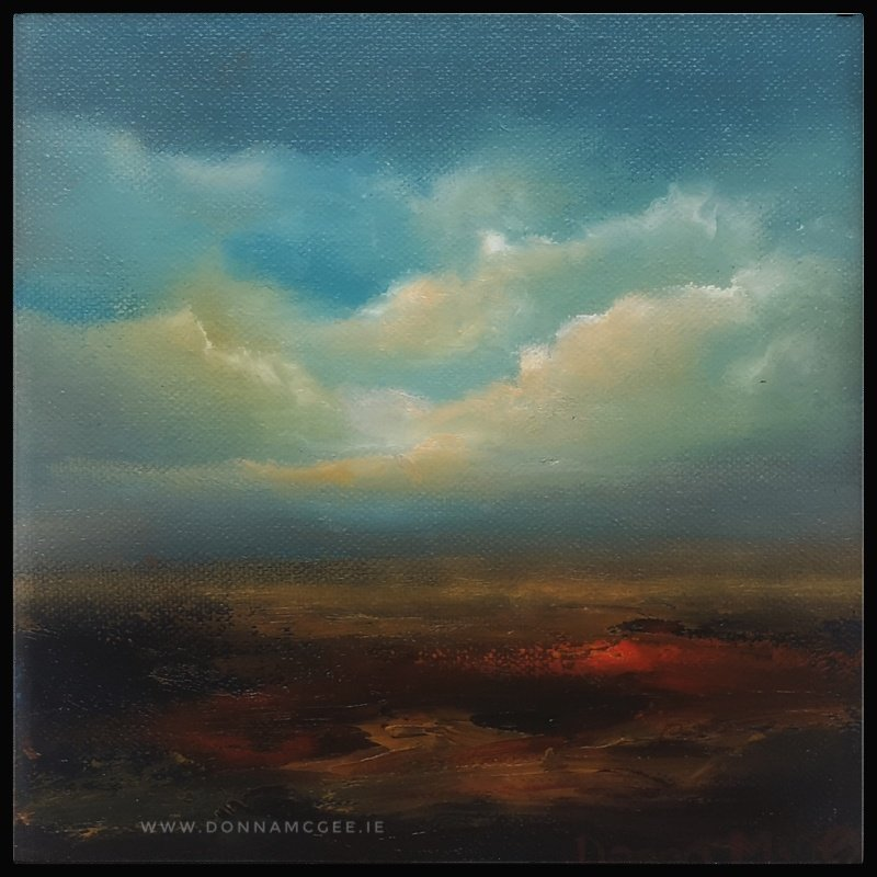 Transcendence Series 7 Abstract oil painting of an Irish landscape 8 x 8 inches