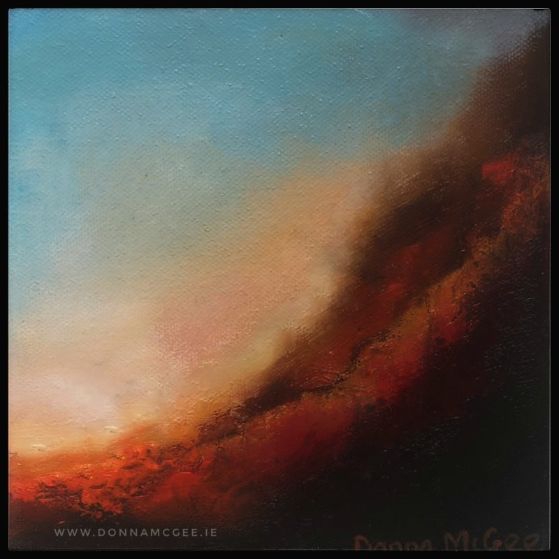 Transcendence Series 6 Abstract oil painting of an Irish landscape 8 x 8 inches