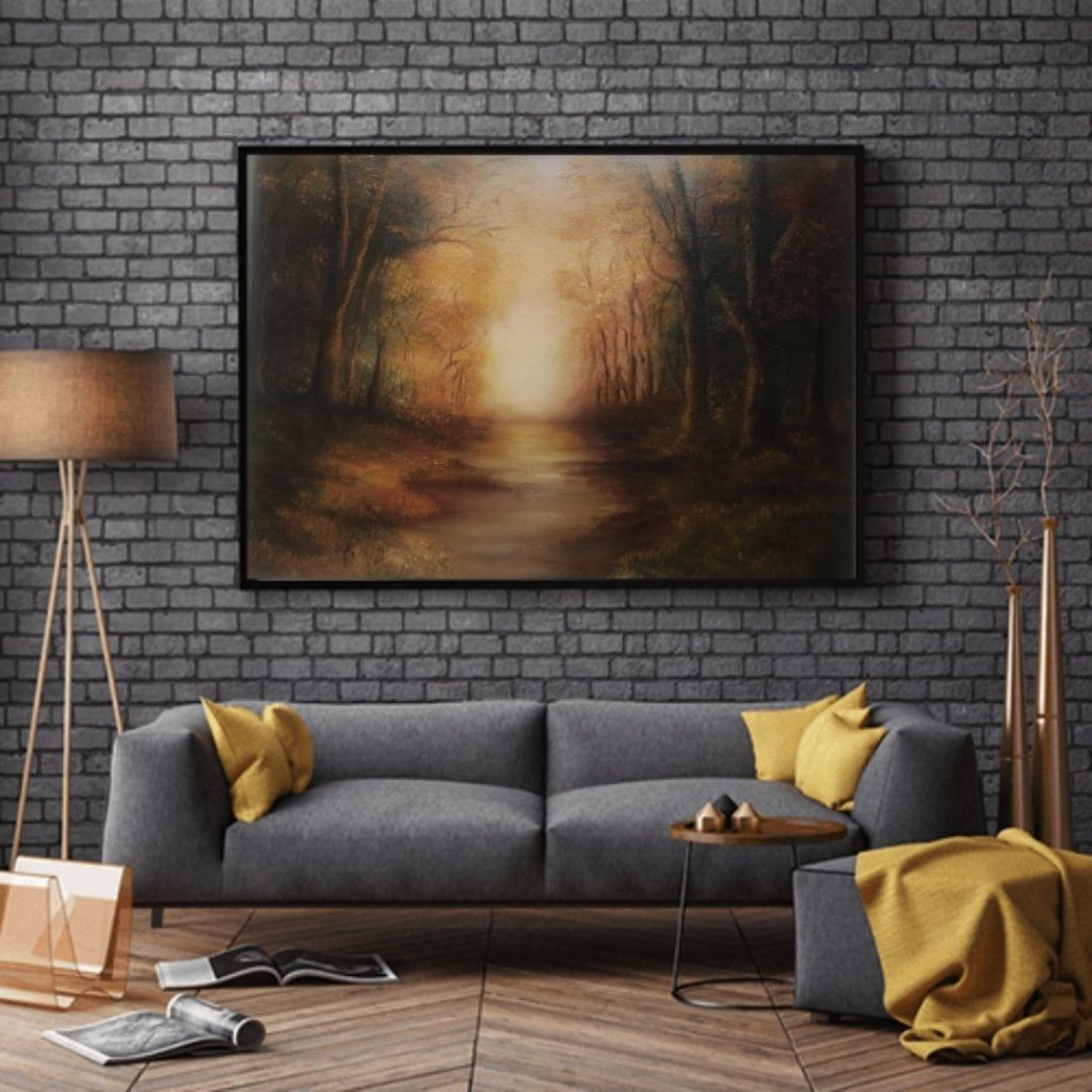 golden moments woodland scene oil painting