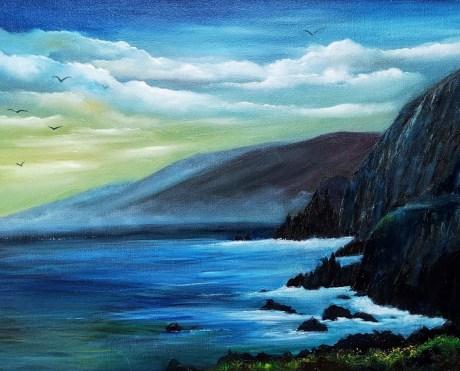 Coumenole Beach Dingle penisinula, cathederal shaped rocks in a moody stormy irish seascape