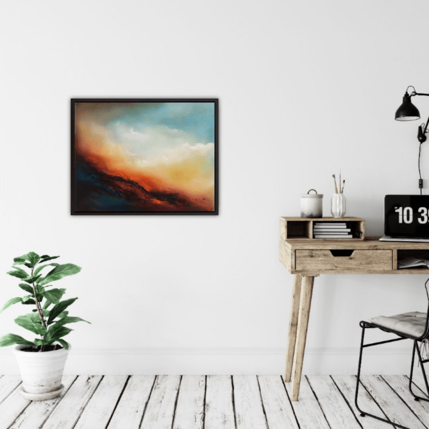 scorching embers abstract oil painting in room setting