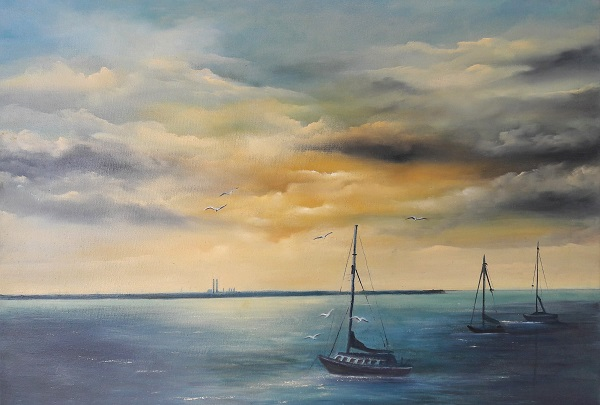As-evening-falls-in-Dun-Laoghaire-50x70cms-Oil-on-block-Canvas