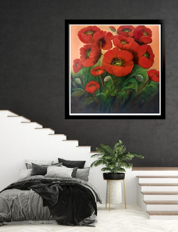 garden poppies red oil painting in room setting