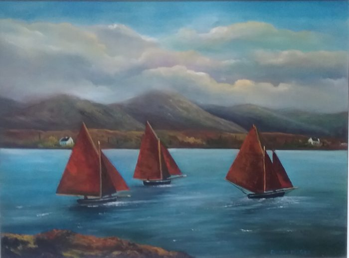 Galway Hookers at Rounstone inches-Oil on Canvas