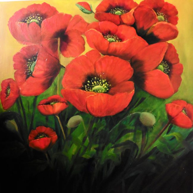 Garden-Poppies-28x28-inches-Oil-Painting.jpg bright red poppies