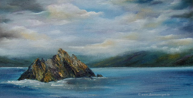 skellig michael oil painting available in limited edition print