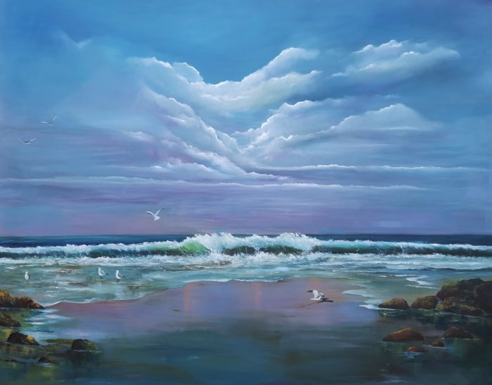 Wild Atlantic Call 150x120cms Oil on Canvas Dogs Bay Galway, gulls landing, sea rolling, rolling waves, purple hues