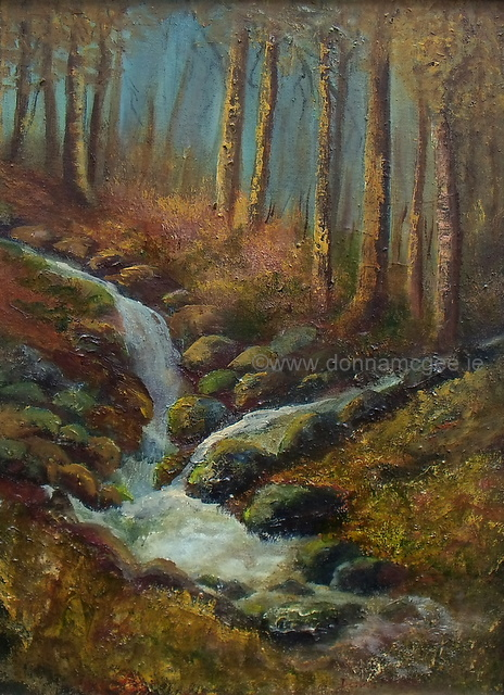Cruagh Wood landscape painting in oils