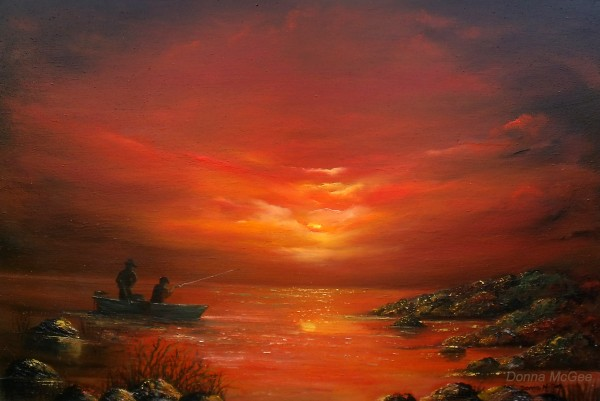 evening-catch-20x30-oil-donna-mcgee sunset in galway bay as fishermen get the last catch of the day