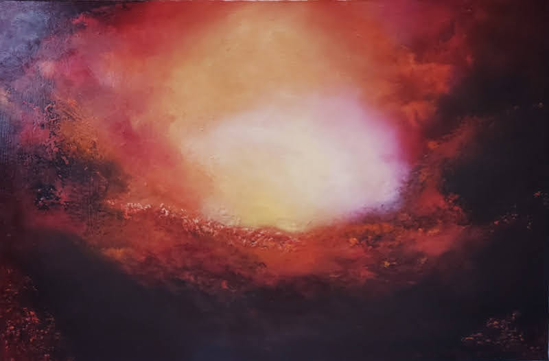 glowing light abstract oil painting