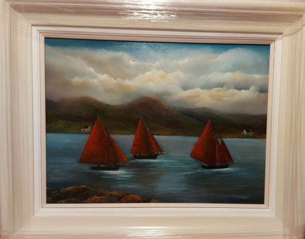 galway hooker boats at roundstone oil painting 24x18 inches - irish art