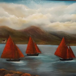 galway hookers at roundstone oil painting 24x18