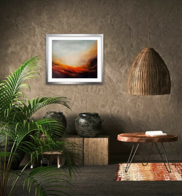 Daybreak abstract oil painting in a room setting