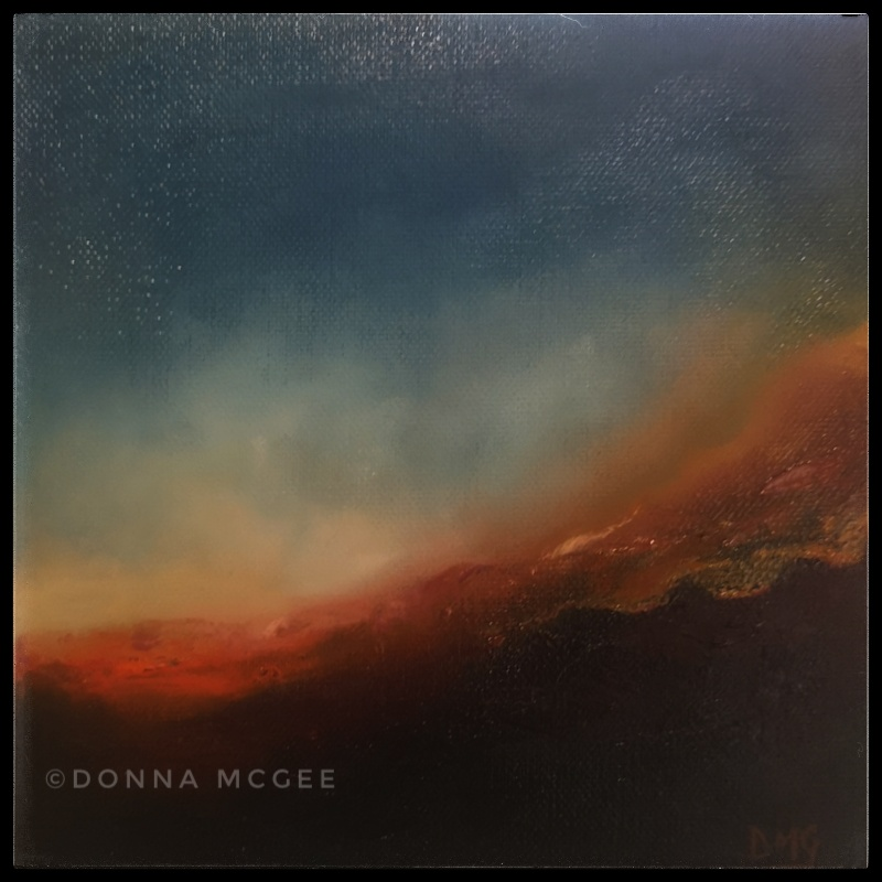 dusk descends 8x8 A soft featherlike dusk descends over the landscape creating haunting shadow effects on the land
