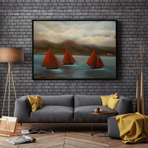 galway hookers oil painting in room setting