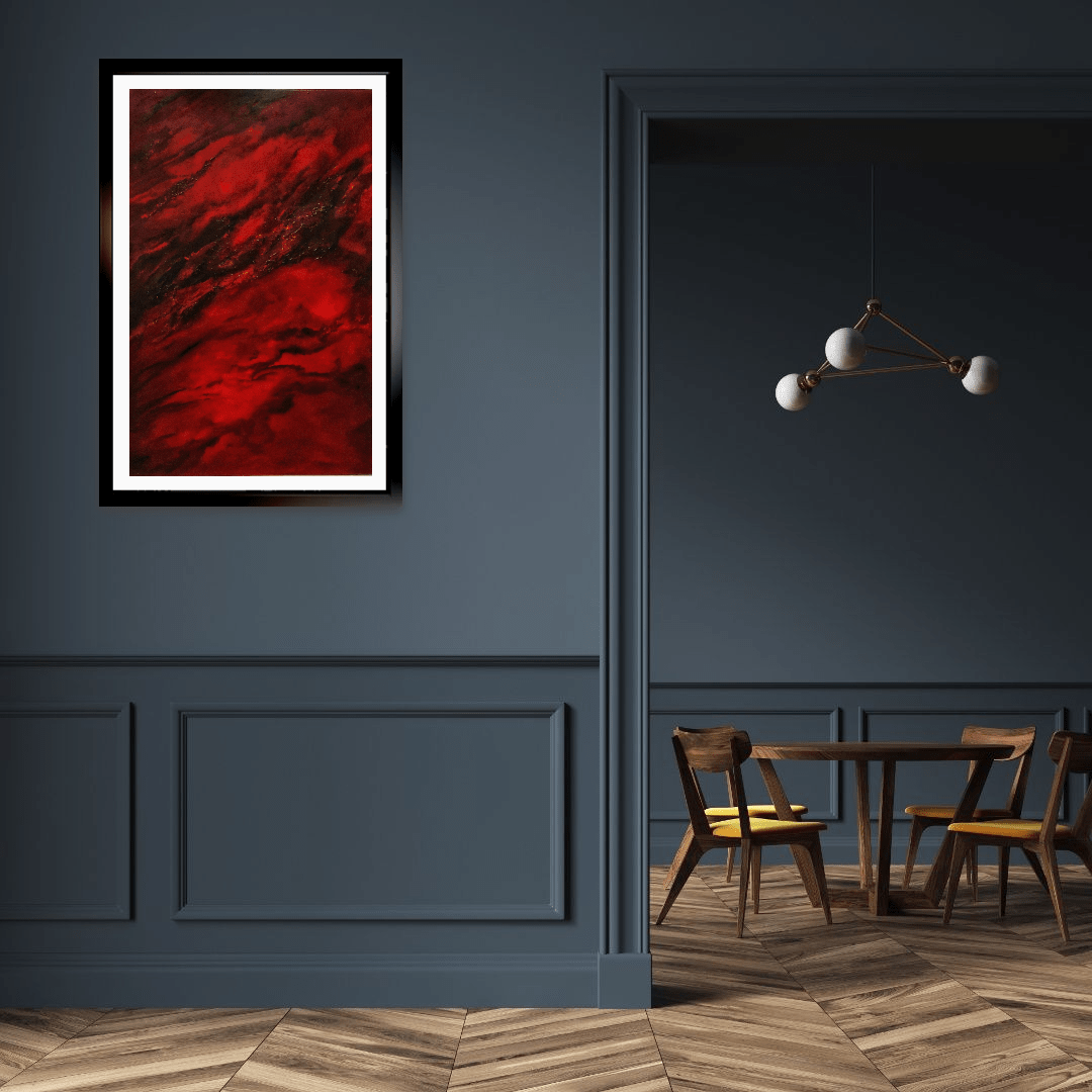 collision oil painting in room setting