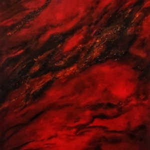 collision red abstract painting