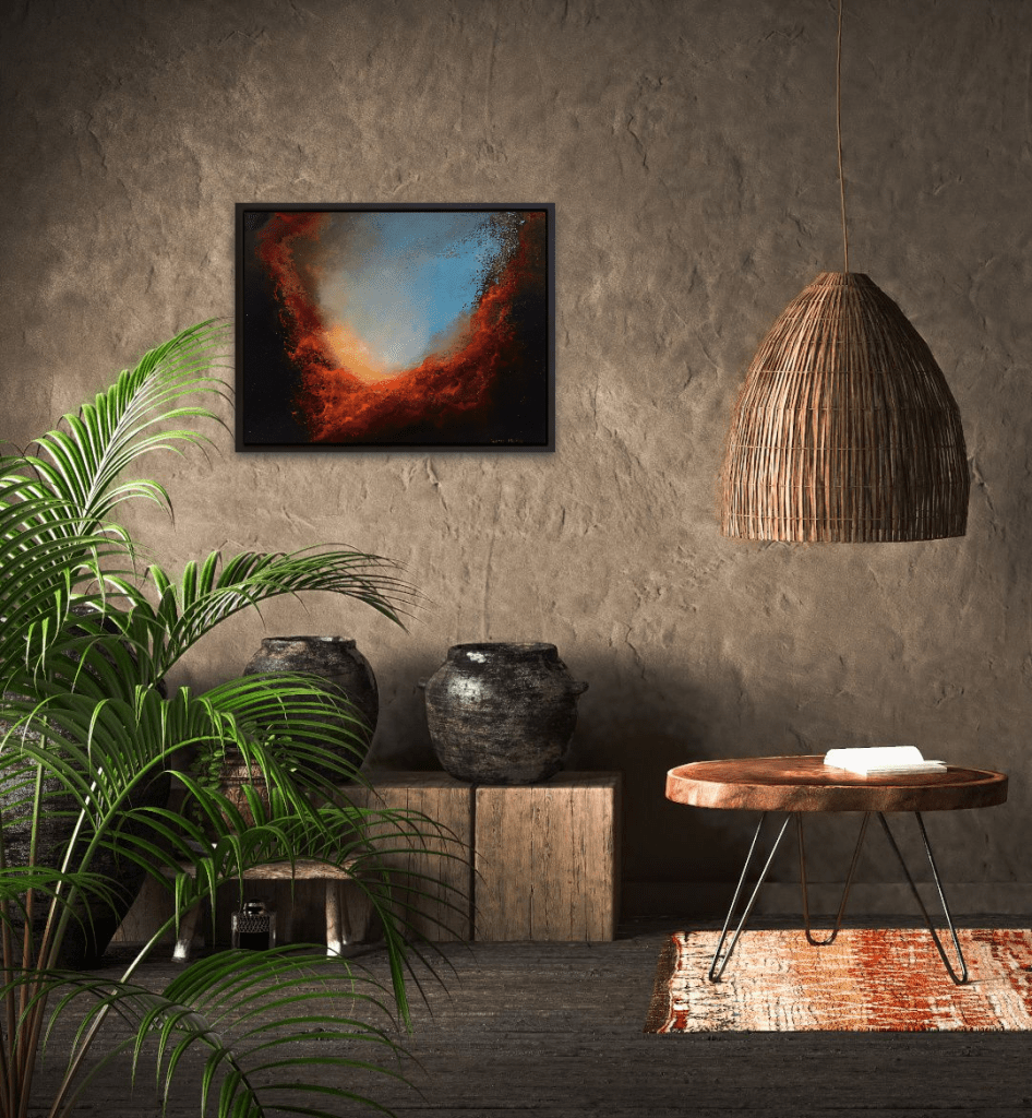 transcending light abstract oil painting in a room view