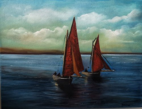 Galway Hooker Boats Oil Painting