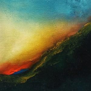 Dawn Kiss 8x8 abstract oil painting - irish art