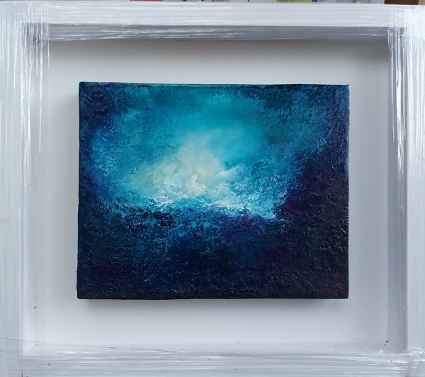 blue chasm is an abstract oil painting on block canvas and framed in a contemporary box frame