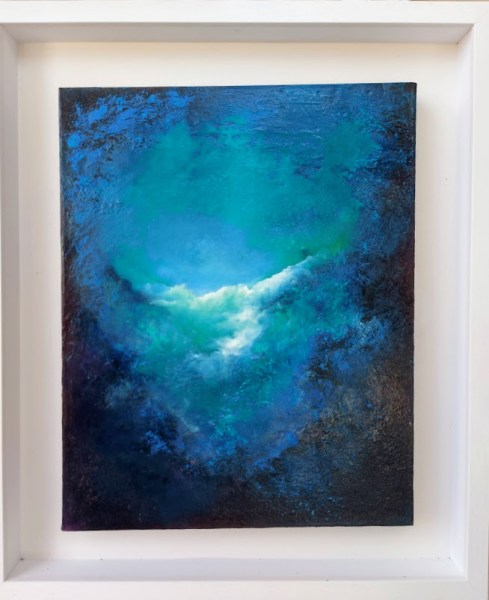 natures blue abstact oil painting 20x16 and 27x23 overall measurement