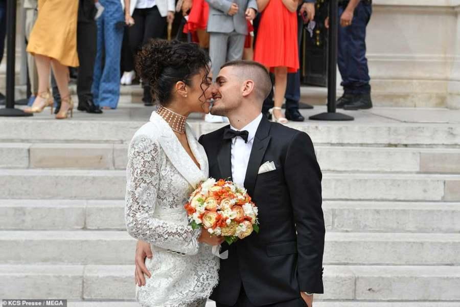 Marco Verratti e la neo moglie Jessica Aidi