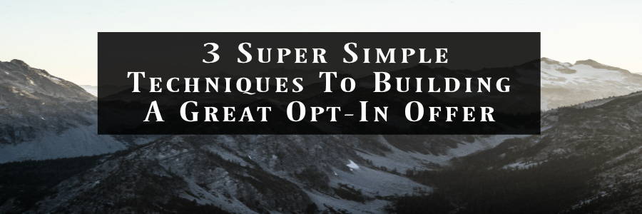 3 Super Simple Techniques To Building A Great Opt-In Offer