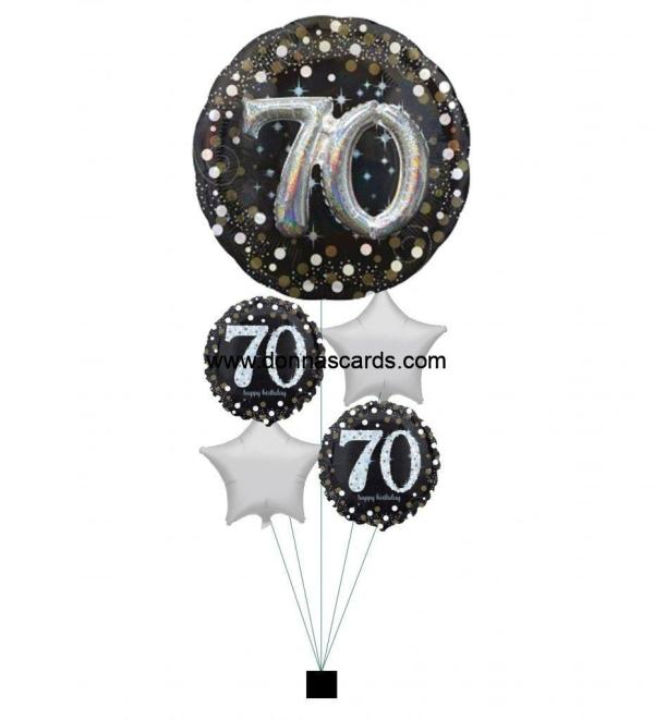 Giant Black Gold Silver Sparkle 70th Birthday Bouquet