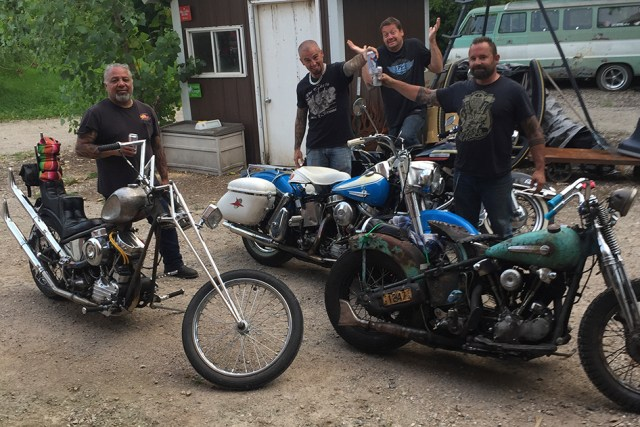 "Kevin ""Teach"" Baas and friends make a stop while doing the Miesville, Minnesota loop"