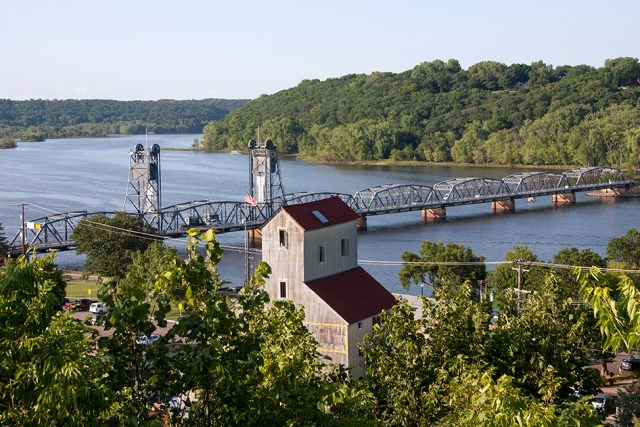 Looking down over the St. Croix River from Stillwater, Minnesota