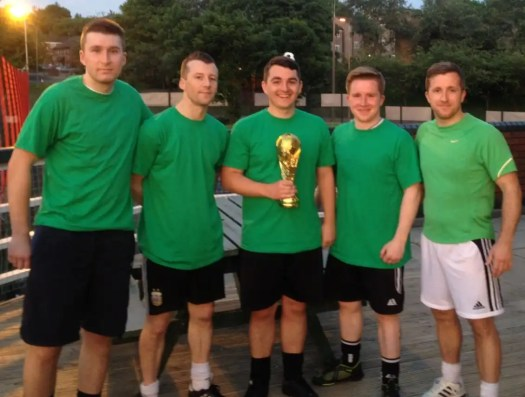 """Picture of Donoghue Solicitors' """"World Cup"""" winning 5-a-side football team."""
