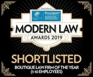 Niche Law Firm Award for the 2019 Modern Law Awards.
