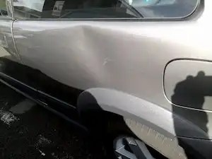 Photo of our client's car damaged during a traffic stop by South Wales Police.