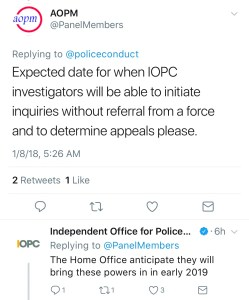 A tweet from the IOPC