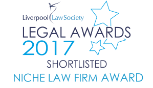 Logo of Liverpool Law Society Legal Awards 2017 shortlisted Niche Law Firm Award.