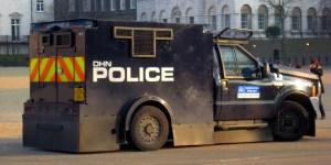 Photo of a Metropolitan Police Jankel armoured vehicle.